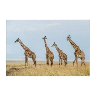 Art Mural En Acrylique Troupeau de girafe dans la prairie
