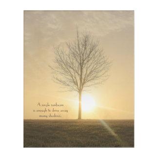 Art Mural En Acrylique Un arbre, brouillard et un lever de soleil avec