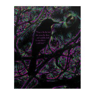 Art Mural En Acrylique Un oiseau noir avec un électrique Trippy éditent