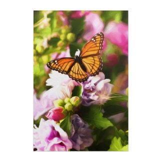 Art Mural En Acrylique Un papillon sur les fleurs roses et pourpres