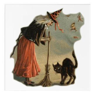 Art Mural En Acrylique Vieille sorcière de Halloween avec le balai et un
