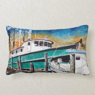 Art nautique de bateau de crevette coussins carrés