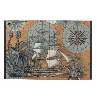 Art nautique vintage de bateau de poulpe de rose protection iPad air