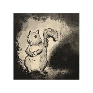 Art noir d'encre en bois d'écureuil