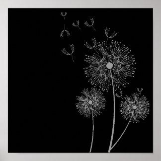Art noir et blanc de fleur de pissenlit affiches