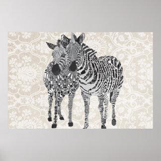 Art noir et blanc de Zeb et de Zenya Affiches