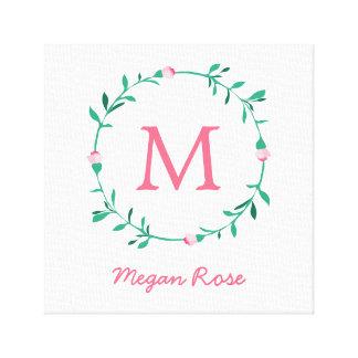 Art nommé rose et vert de guirlande de Rosebud de Toiles
