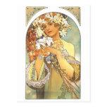 "Art Nouveau - Alphonse Mucha ""fleur "" Carte Postale"