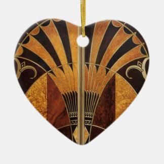 art Nouveau, art déco, cru, couleurs en bois, Ornement Cœur En Céramique