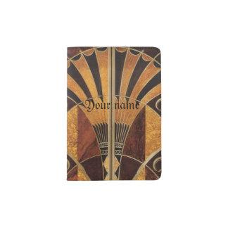 art Nouveau, art déco, cru, couleurs en bois Protège-passeport