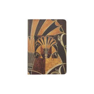 art Nouveau, art déco, cru, couleurs en bois Protège-passeports
