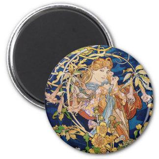 Art Nouveau de Mucha : Femme avec la marguerite Magnet Rond 8 Cm