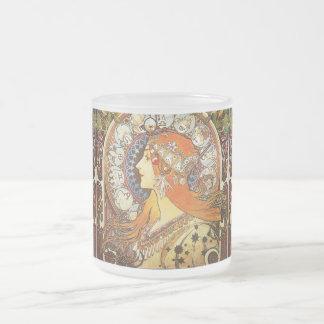 Art Nouveau de zodiaque de plume de La d'Alphonse Mug En Verre Givré