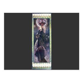 Art Nouveau Deco de femme de nuit de lune de Mucha Cartes Postales