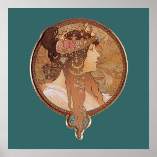 Art Nouveau - tête bizantine, l'affiche de brune Affiches