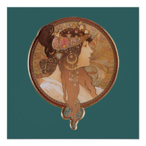 Art Nouveau - tête bizantine, l'affiche de brune Poster