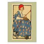 Art Nouveau - tricot de fille avec son chat Cartes De Vœux