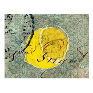 Art numérique de citron carte postale