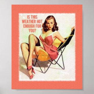 Art numérique de pin-up vintage de temps chaud posters