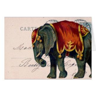 Art numérique vintage de carte postale d'éléphant,