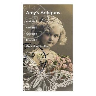 Art numérique vintage de petite fille carte de visite standard