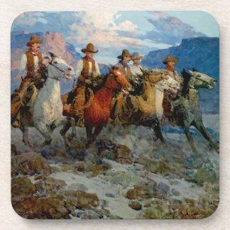 """Art occidental """"cavaliers de Frank T Johnson de Dessous-de-verre"""