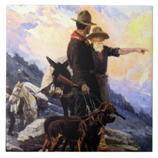 "Art occidental ""chasse de Frank Tenney Johnson à Grand Carreau Carré"