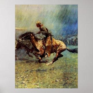 "Art occidental de Frederic Remington ""la ruée"" Poster"