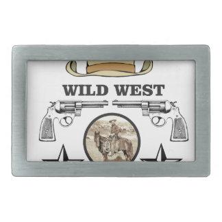 art occidental sauvage de cowboy boucles de ceinture rectangulaires