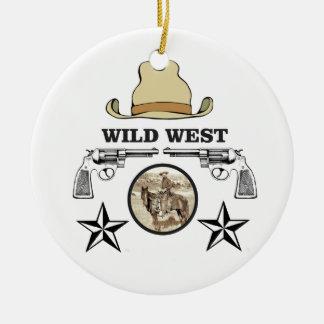 art occidental sauvage de cowboy ornement rond en céramique