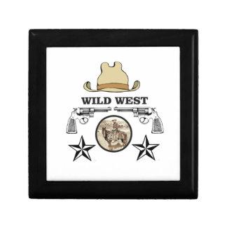 art occidental sauvage de cowboy petite boîte à bijoux carrée
