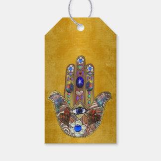Art opale de fleurs de coeurs de Hamsa sur l'or Étiquettes-cadeau