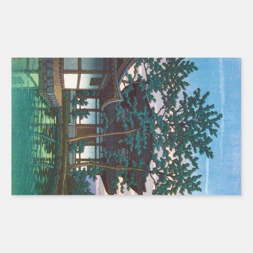 Art oriental frais d'arbre de village de Hasui de  Autocollants En Rectangle