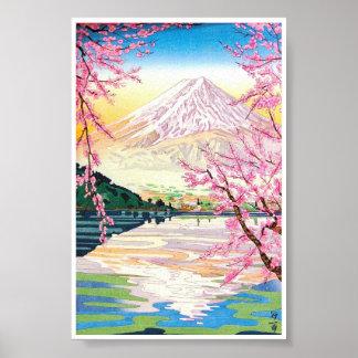 Art oriental frais de cerisier de ressort de Fuji  Affiche