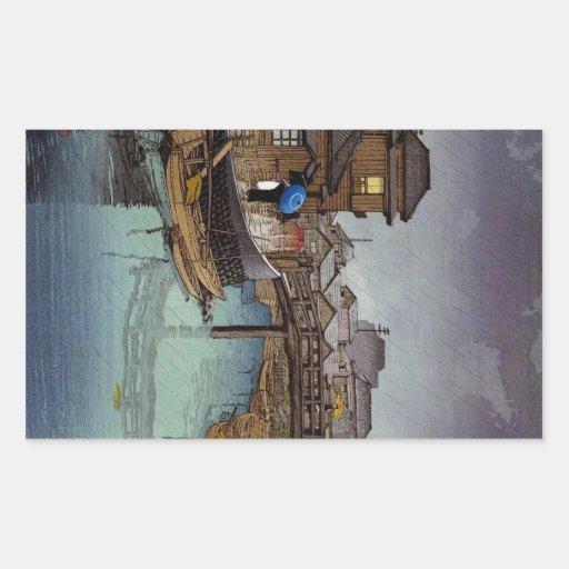 Art oriental frais de jour pluvieux de Kawase de J Autocollants
