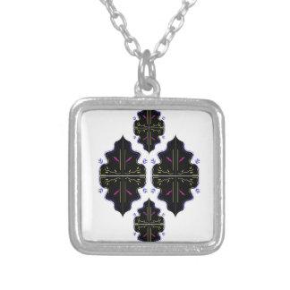 Art oriental noir et blanc de mandala pendentif carré