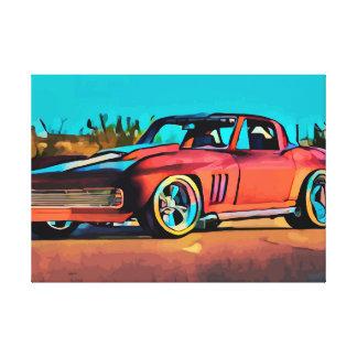Art original de toile d'abrégé sur rouge voiture