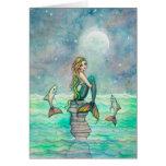 Art paisible d'imaginaire de sirène et de poissons carte de vœux