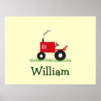 Art personnalisé de mur de tracteur Tracteur rou Poster