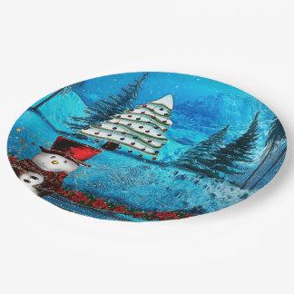 Art populaire de Noël de lac winter Assiettes En Papier