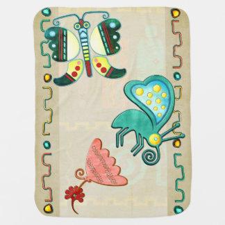 Art populaire du papillon 2 de Zuni Couvertures Pour Bébé