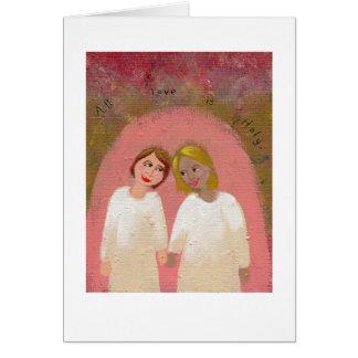 Art populaire gai lesbien de mariage - l'épousez carte de vœux