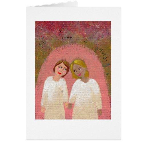 Art populaire gai lesbien de mariage - l'épousez l cartes de vœux