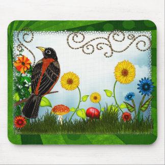 Art populaire lunatique d'observation d'oiseau tapis de souris