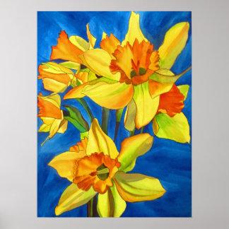 Art pour aquarelle original de fleur de jonquilles posters