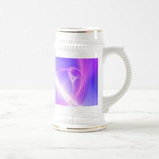 Art pourpre et bleu abstrait de fractale chope à bière