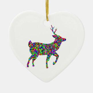 Art prismatique de cerfs communs coloré par ornement cœur en céramique