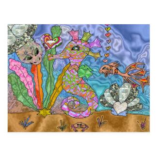 Art psychédélique de tortue de mer d'hippocampe carte postale