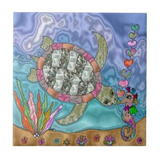 Art psychédélique d'hippocampe de tortue de mer carreaux en céramique