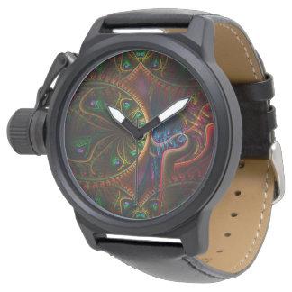 Art psychopathe de fractale de flamme de vitesses montres bracelet